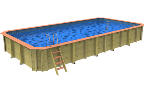 Side on image of a Plastica Wooden Rectangular Pool