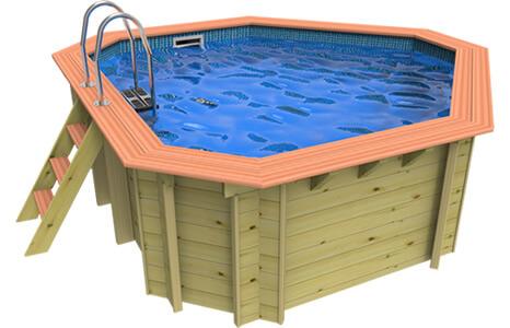 Side on image of a Plastica Wooden Corner Pool