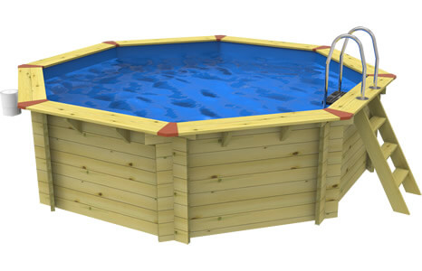 Side on image of a Plastica Octagonal Eco Wooden Pool