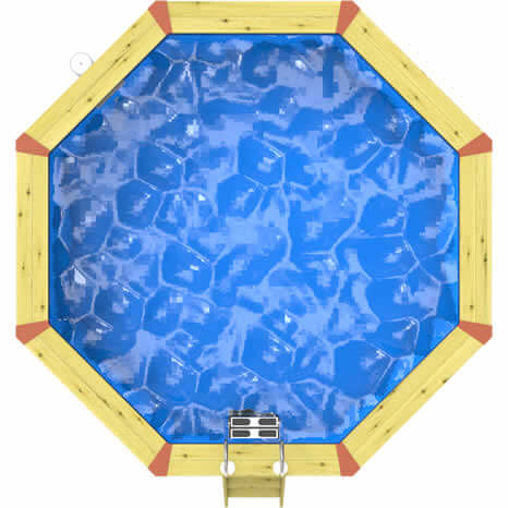 Top down image of a Plastica Octagonal Eco Wooden Pool