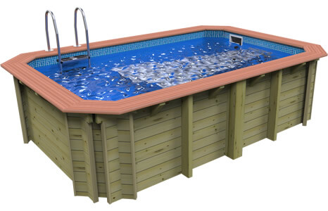 Plastica Wooden Exercise Pool Side View