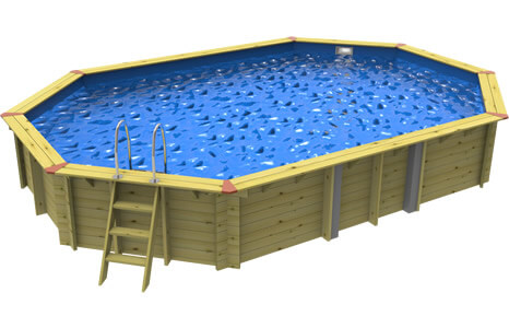 Side on image of a Plastica Stretched Octagonal Eco Wooden Pool