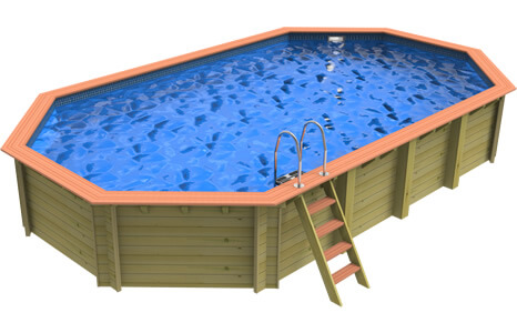 Side view of a Plastica Stretched Octagonal Wooden Pool
